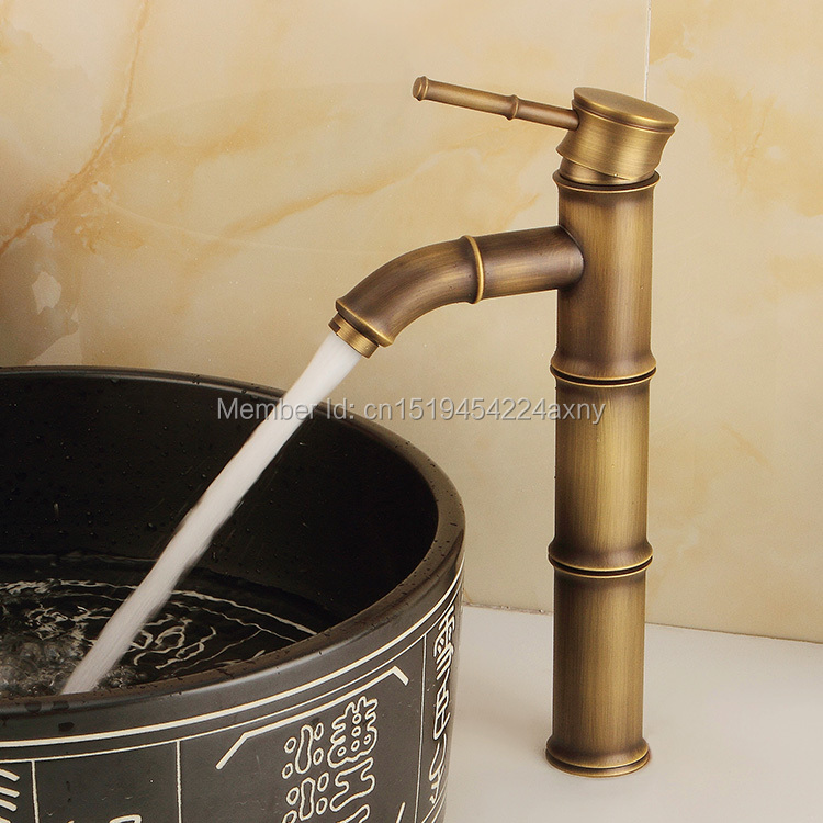 Free Shipping 12 Bamboo Shape Single Handle Antique Copper Bathroom Basin Sink Faucet Waterfall Spout Vanity Mixer Tap GI39
