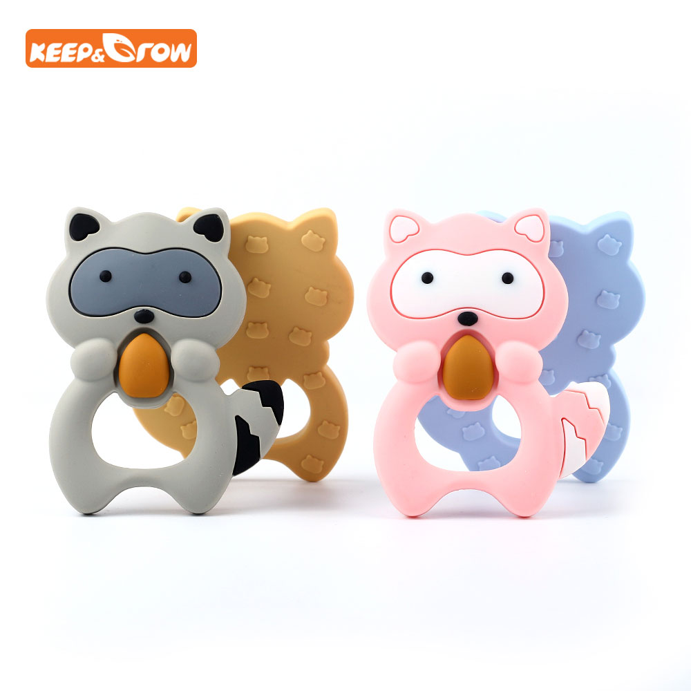Keep&grow 1Pcs Ginger Man Raccoon Silicone Teether Baby Teething Toy Animal Rubber Baby Shower Gift Food Grade Silicone Teether