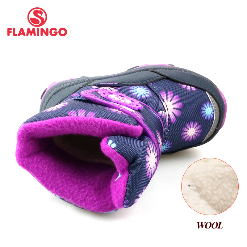 FLAMINGO Winter Waterproof Wool Warm High Quality Kids Shoes Anti-slip Snow Boots for Girl Size 22-27 Free Shipping 82M-QK-0918