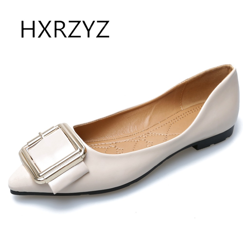 HXRZYZ large size black women flat shoes female metal buckle casual shoes spring/autumn new fashion pointed toe leather loafers 2017 new spring female flat heels martin shoes bullock shoes female thick bottom loafers large size women shoes obuv ayakkab