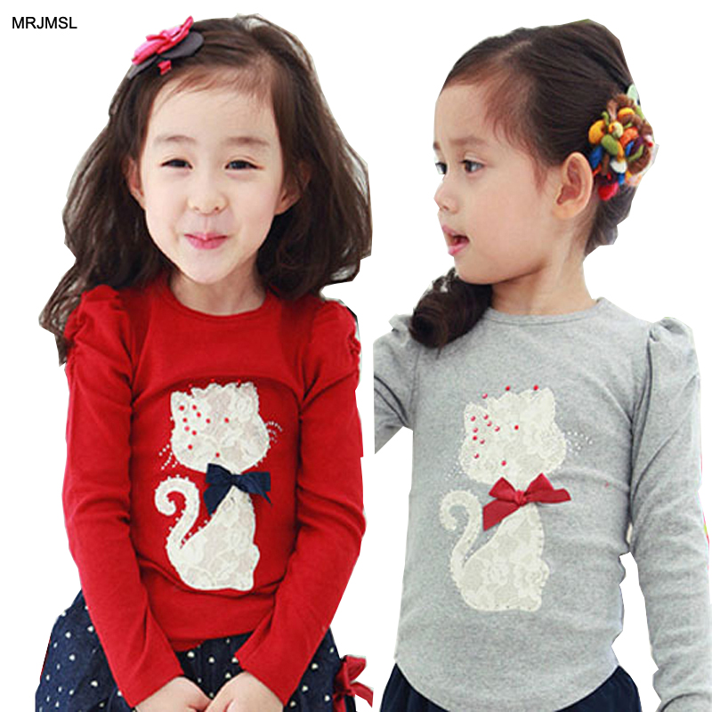 MRJMSL Hot selling  kids spring autumn clothes baby girls long sleeve bottoming t shirts for children t-shirts cat 2019