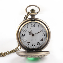 New Fashion Nursing Watch Quartz Pocket Watch Big Hollow Emerald Stone Vintage Necklace Pendant Clock Chain Mens Womens Gifts fashion men women vintage quartz pocket watch alloy glass dome necklace pendant unisex sweater chain clock gifts ll 17