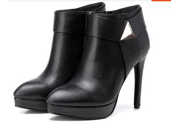 Women Boots Stretch Slim Short Black Leather Boots Fashion Buckle Thin High Heels Shoes Sapatos
