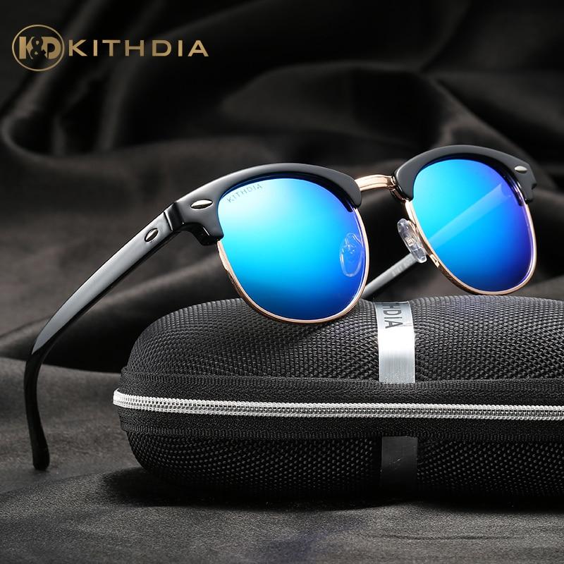 KITHDIA TR90 Demi lunettes de Soleil UV400 Polaroid HD Polarisée Objectif Femmes Lunettes De Soleil Marque Designer Miroir mâle oculos # KD5161