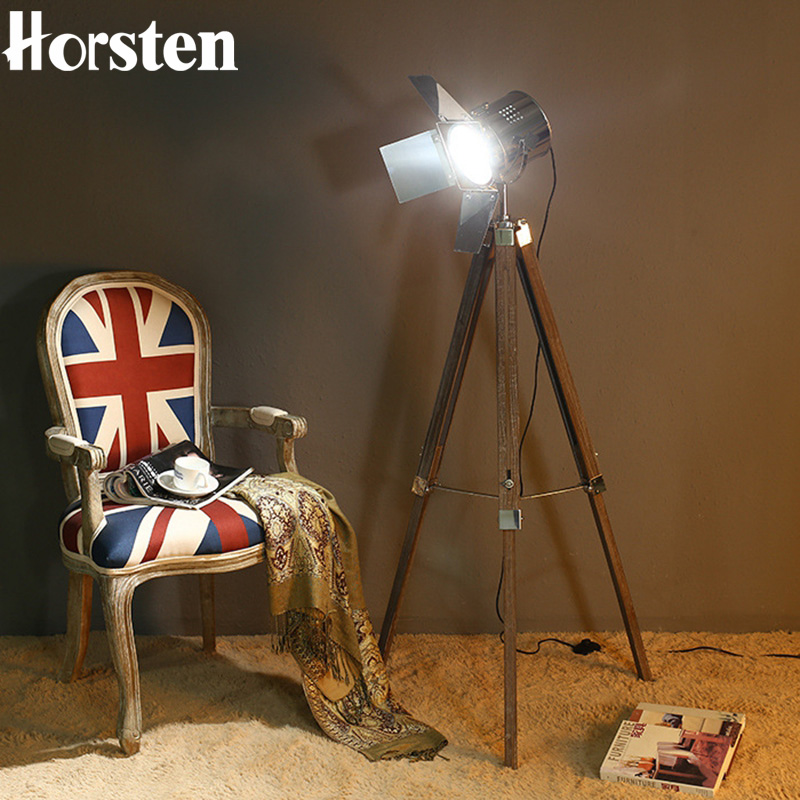 Horsten European Vintage Solid Wood Lampstand Photography Floor Lamp Home Corporation Public Space Decoration 220V E14