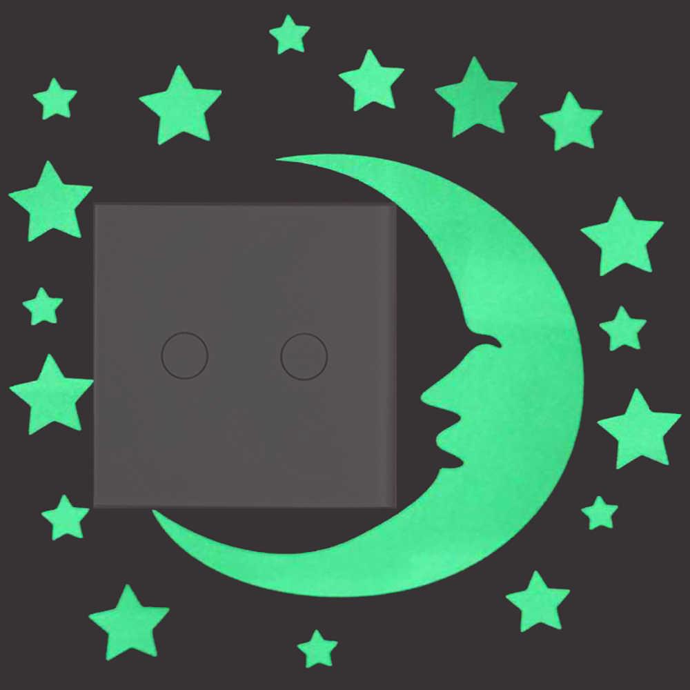 Светящаяся наклейка в виде луны и звезд светится в темноте настенный стикер для выключателя, стикер для детской комнаты, Потолочная кровать, персонализированное украшение «сделай сам»