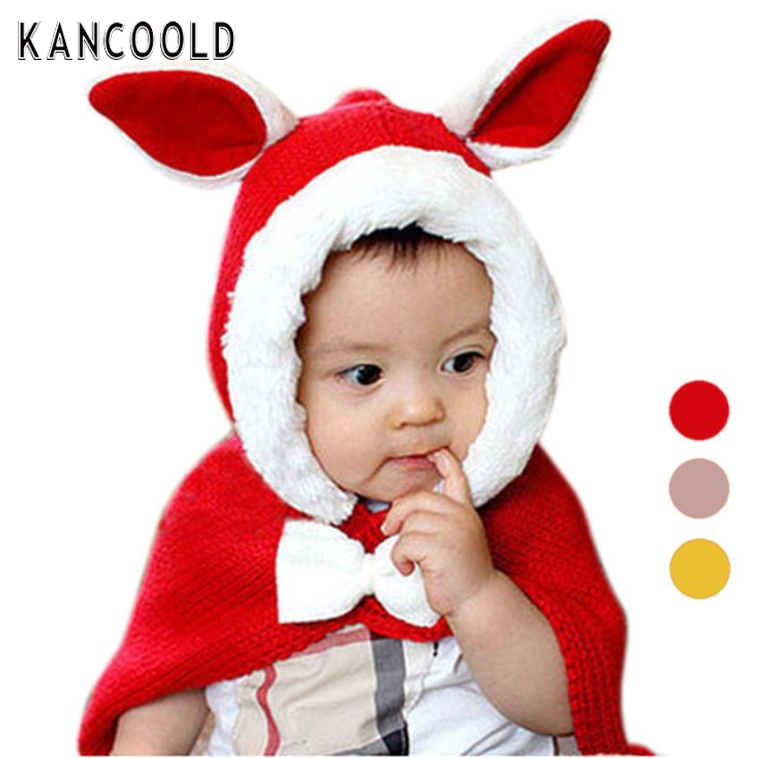 Garment Hot! Winter Lovely Winter Knit Wool Rabbit Hats Girls Baby Shawls Hooded Cowl Beanie Caps for 1 to 5 year kid Gifts
