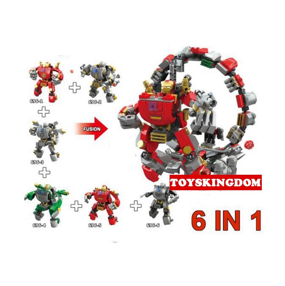 Hot New Super Heroes Avenger Ironmans 6in1 Mech Building Block Mk1 War Machine Mk37 Figures Bricks Lepins Collection Toys