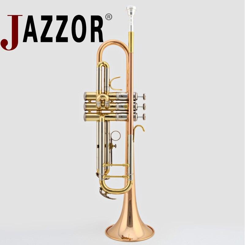 JAZZOR JBTR-430 professionnel B plat trompette phosphore-cuivre trompette embout étui rigide instruments à vent