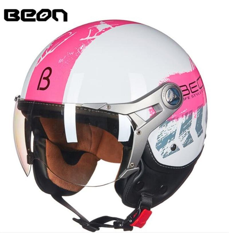 BEON Motorcycle Helmet Chopper 3 4 Open Face Vintage Helmet Moto Casque Capacete Motocross Helmet Scooter Motorbike Helmet in Helmets from Automobiles Motorcycles