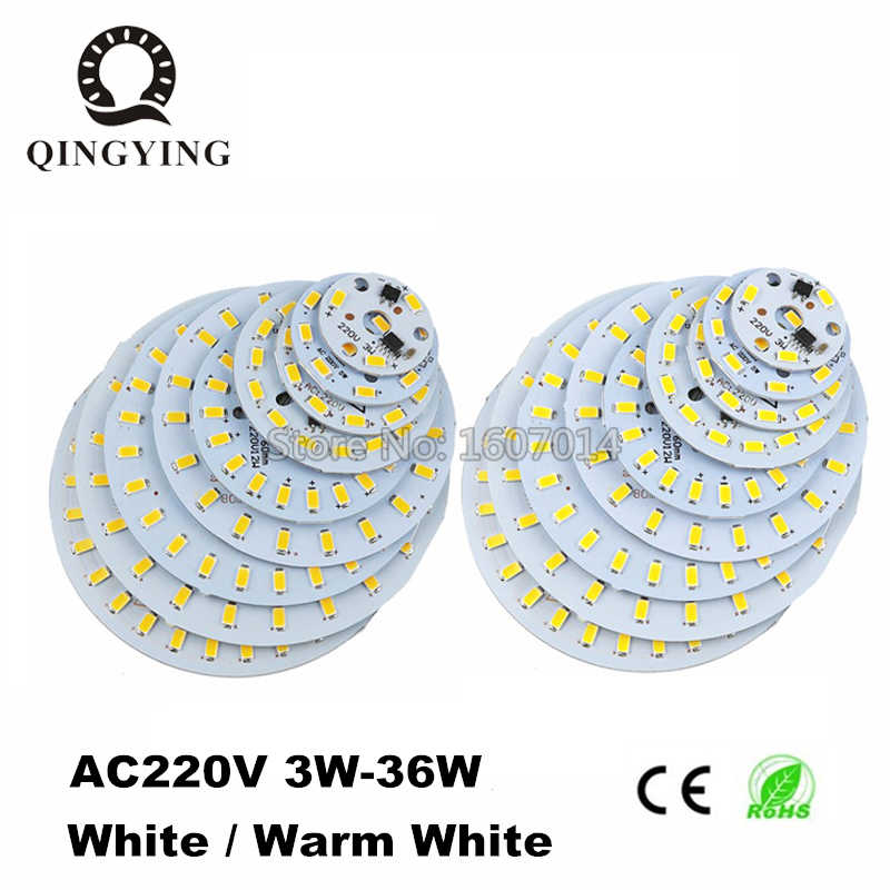10PCS Aluminum LED Modules Integrated Driver 3W-36W Lamp Plate SMD 5730 AC 220V White / Warm White For Replace Ceiling Lamp