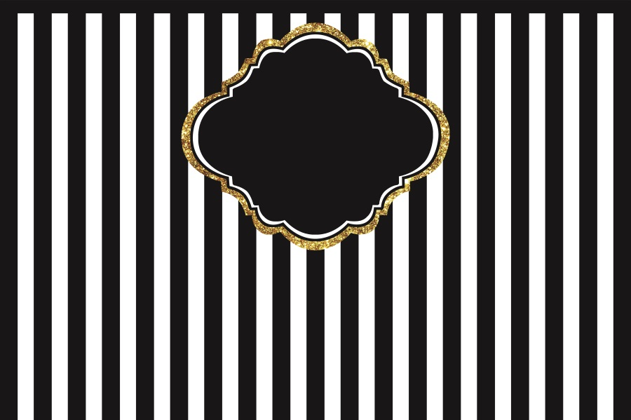 Laeacco Black White Stripes Gold Frame Birthday Party Celebration