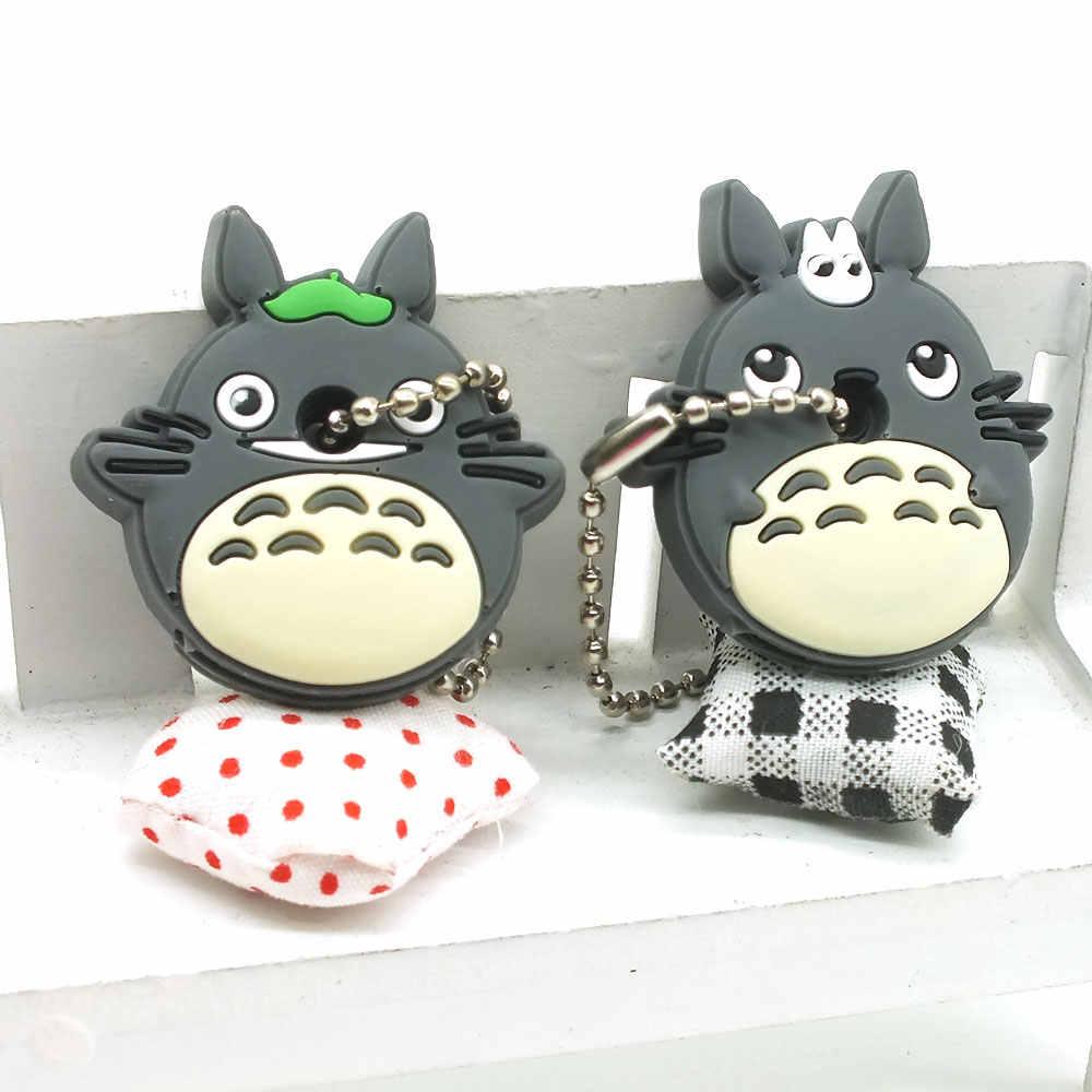 ZOEBER 2 PCS um conjunto bonito do Anime Dos Desenhos Animados da corrente Chave tampa do teclado de Silicone cap mulheres olá kitty asseclas Totoro monstro anel Chaveiro carro