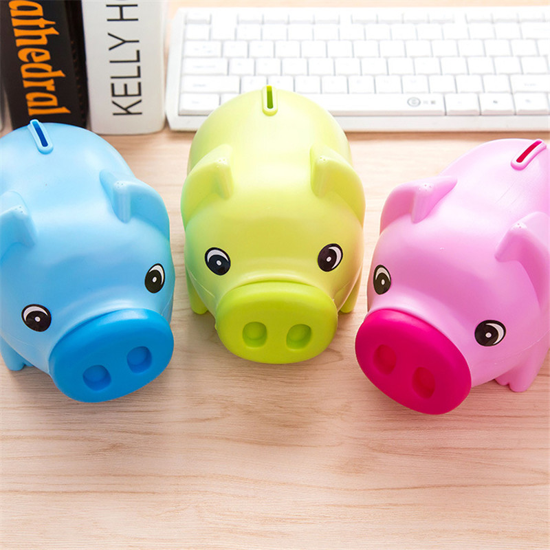 7″ Cute Plastic Piggy Bank Coin Saving Money Box Cash Pig Kids Gift Children Toy