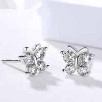 2017 New Fashion Personality High Quality 100 Sterling Silver Luxury Creative Women Butterfly Zircon Earrings Jewelry