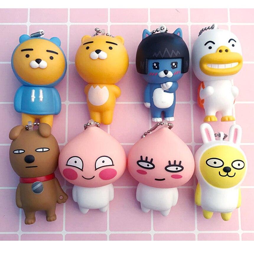 Kakao Friends Action Figure 7cm Lovely Keychain Bag Decor Pendants Cartoon Cocoa Friend Ryan Muzi Apeach Neo Frodo Toys for Kids