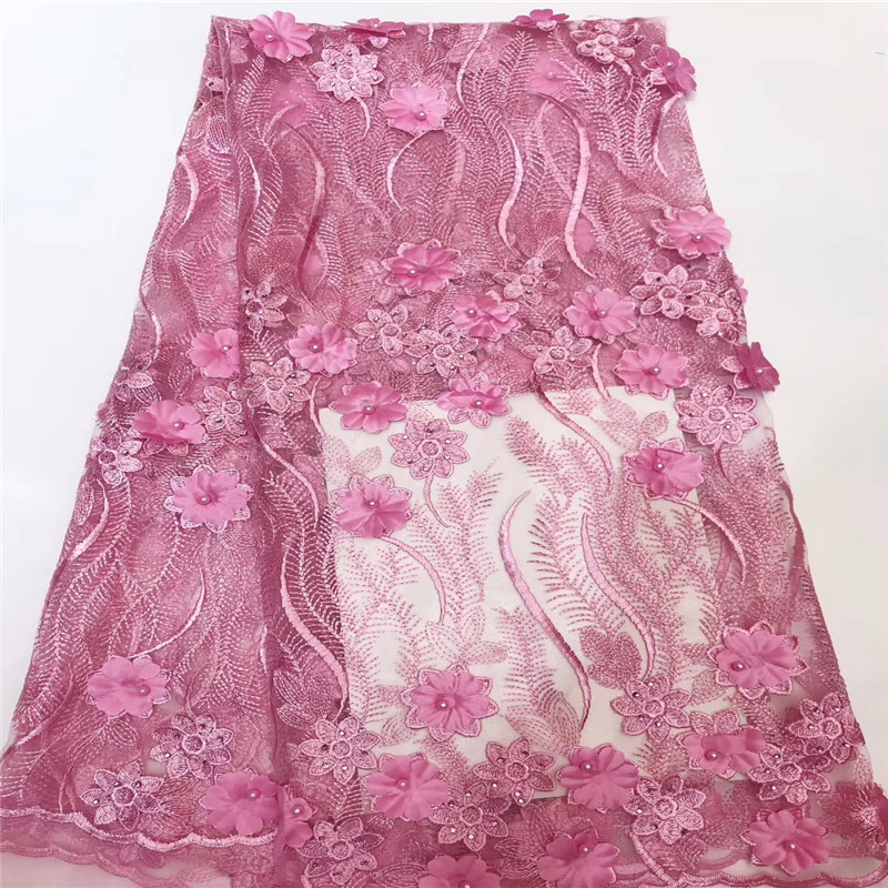 3D Flowers Latest African Pink Lace Fabrics High Quality 2018 Nigerian Lace Fabric for Wedding African Lace Fabric HJ1474-1  3D Flowers Latest African Pink Lace Fabrics High Quality 2018 Nigerian Lace Fabric for Wedding African Lace Fabric HJ1474-1