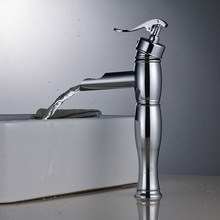 Waterfall Spout Basin Faucet Single Hole Bathroom Faucet Chrome Deck Mounted Vessel Sink Faucet Hot Cold Mixer Tap стоимость
