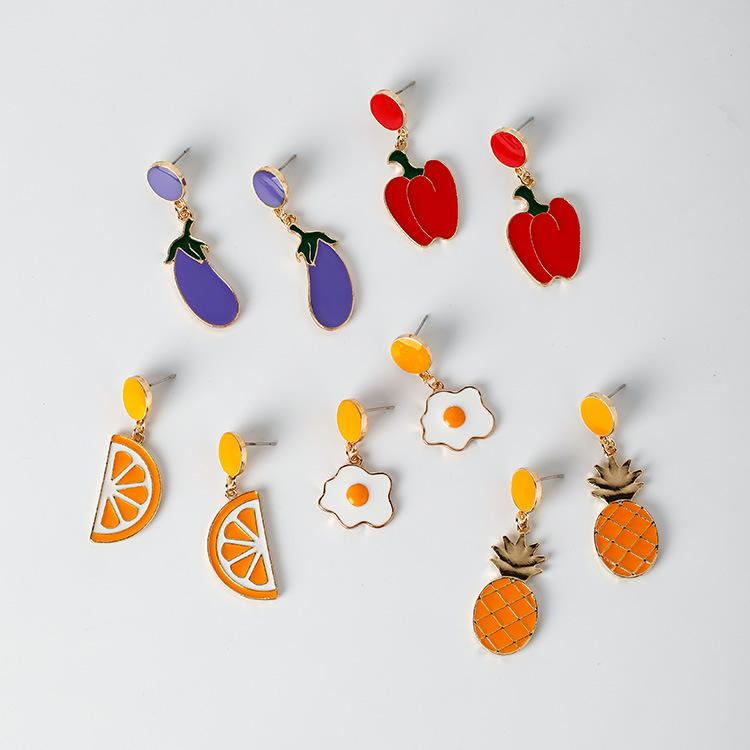 2018 Fashion Creative Cute Orange Pineapple Pepper Lemon Fruit Food Pendant Stud Earrings for Women Girls Jewelry W1408