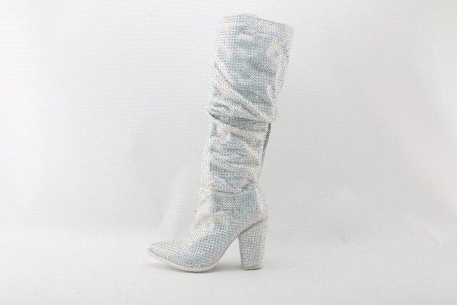 Moraima Snc Luxury Crystal Embellished Women Knee High Boots Sexy Cone Heel Boots Slip On Ladies Rhinestone Boots Runway Shoes