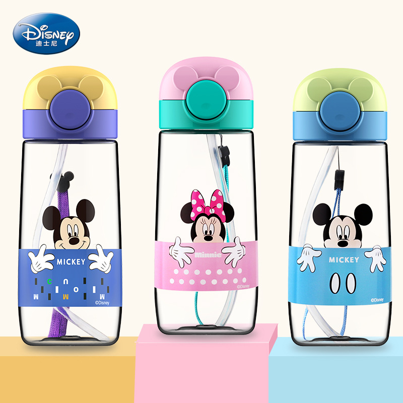 360ml Children's Water Cup With Minnie Micky Straw Drop Plastic Cup Student Boys & Girls Baby Portable Water Cup Summer Hand Cup
