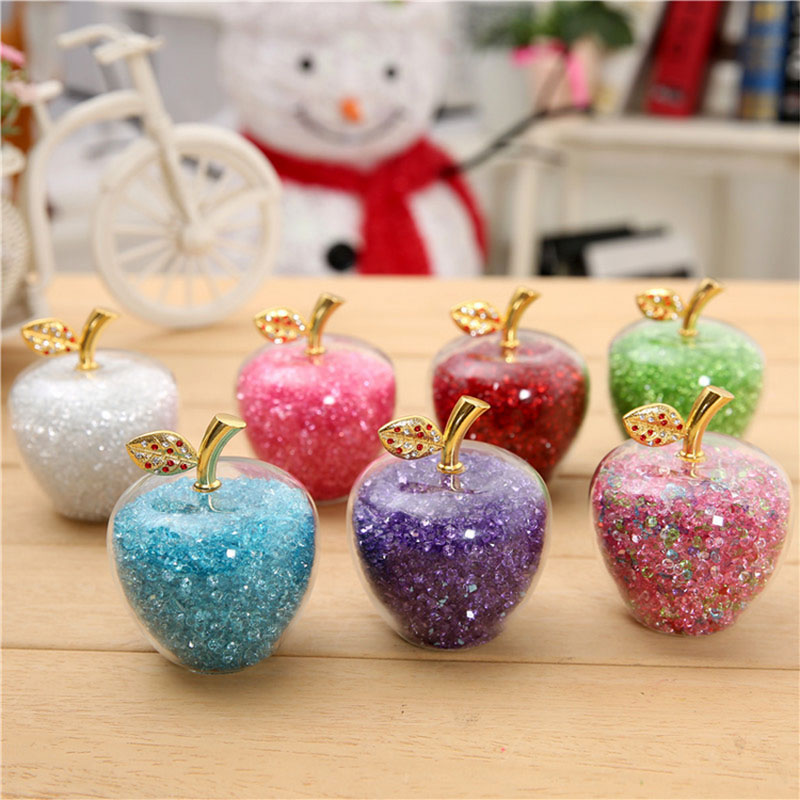 7 Color Crystal Crafts Glass Apple Paperweight with Diamonds Natural Stone Home Decor Ornaments Fruit Figurines Gifts Souvenirs
