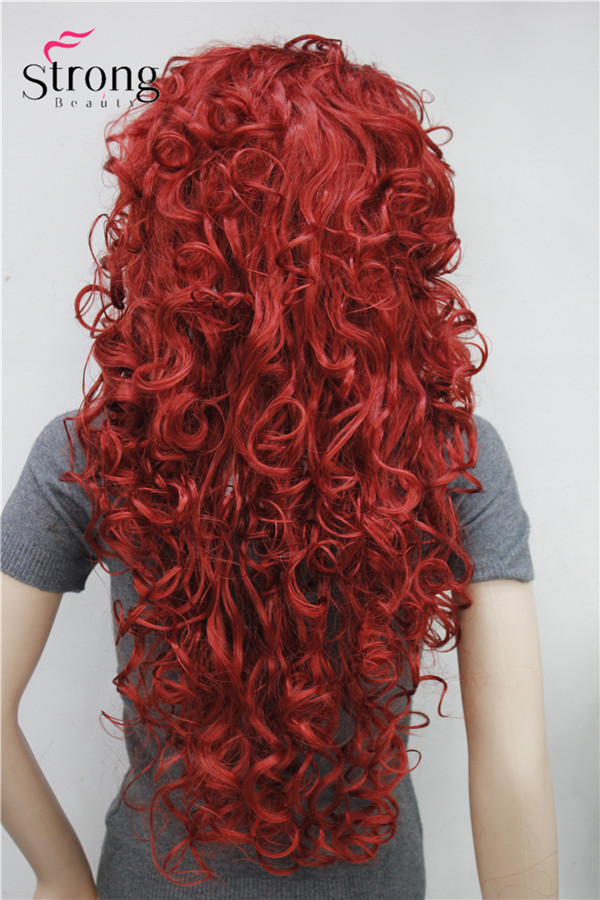 Image 3 - StrongBeauty Long Curly Red Synthetic Wig Cosplay Wigs COLOUR CHOICESchoice   -