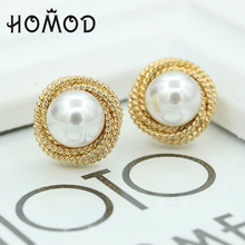 HOMOD Gold Crystal Stud Earrings Female Pendientes Imitation Pearl Earring Woman Fashion Jewelry Accessories
