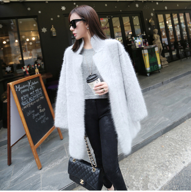 genuine mink cashmere sweater women pure cashmere cardigan knitted ...