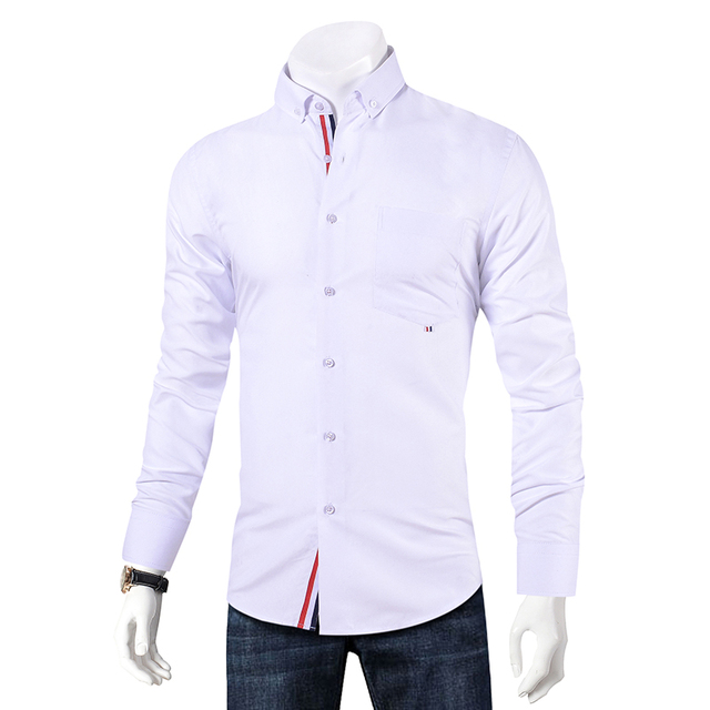 Men Long Sleeve Slim Fit Casual Button-Down Shirt