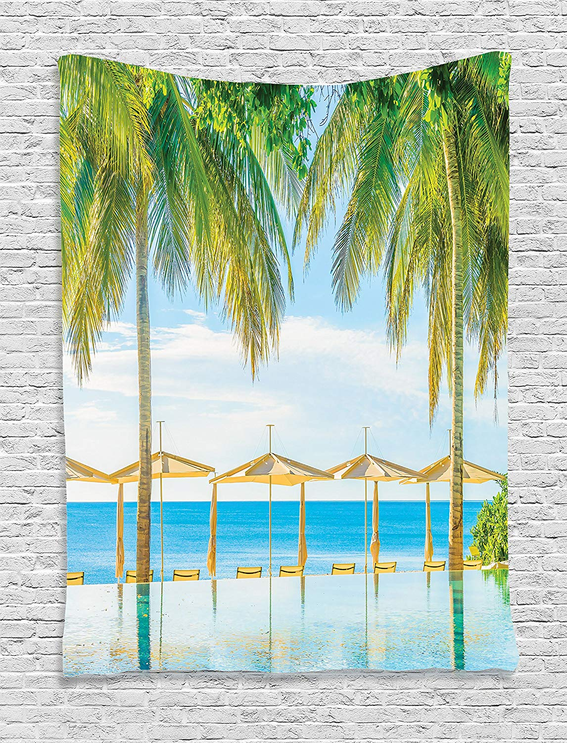 House Decor Tapestry Wall Hanging Tropical Beach with the Pool Nature with Soft Light Su ...