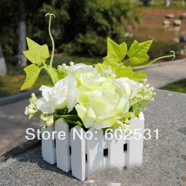 Гибискус костюмы DIY деревянный забор костюмы Шелковые Розы невеста, холдинг розы Свадебный Букет Искусственные Цветы 4 Цветов