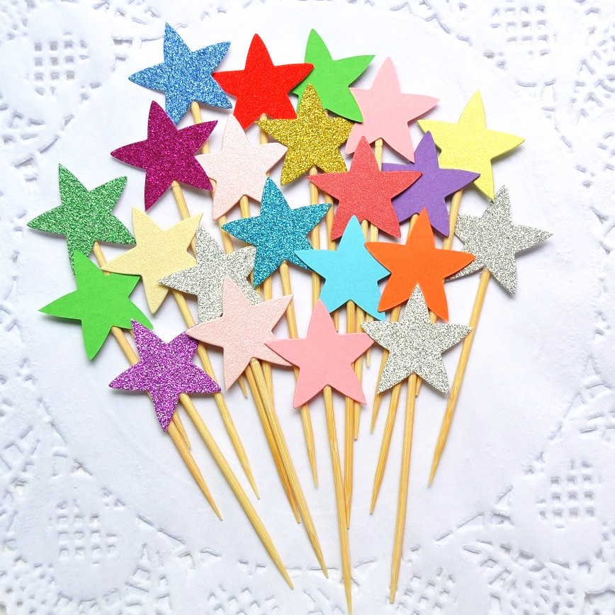10pcs/lot Small Stars Love Heart Cake Topper Multi Colors Love Flags Single Stick For Wedding Birthday Party Cake Baking Decor