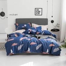 2019 Svetanya Feathers Dark Blue Bedding Sets US Twin Queen Size Cotton Bedlinens Duvet Cover Set Bedsheet Pillow Cases
