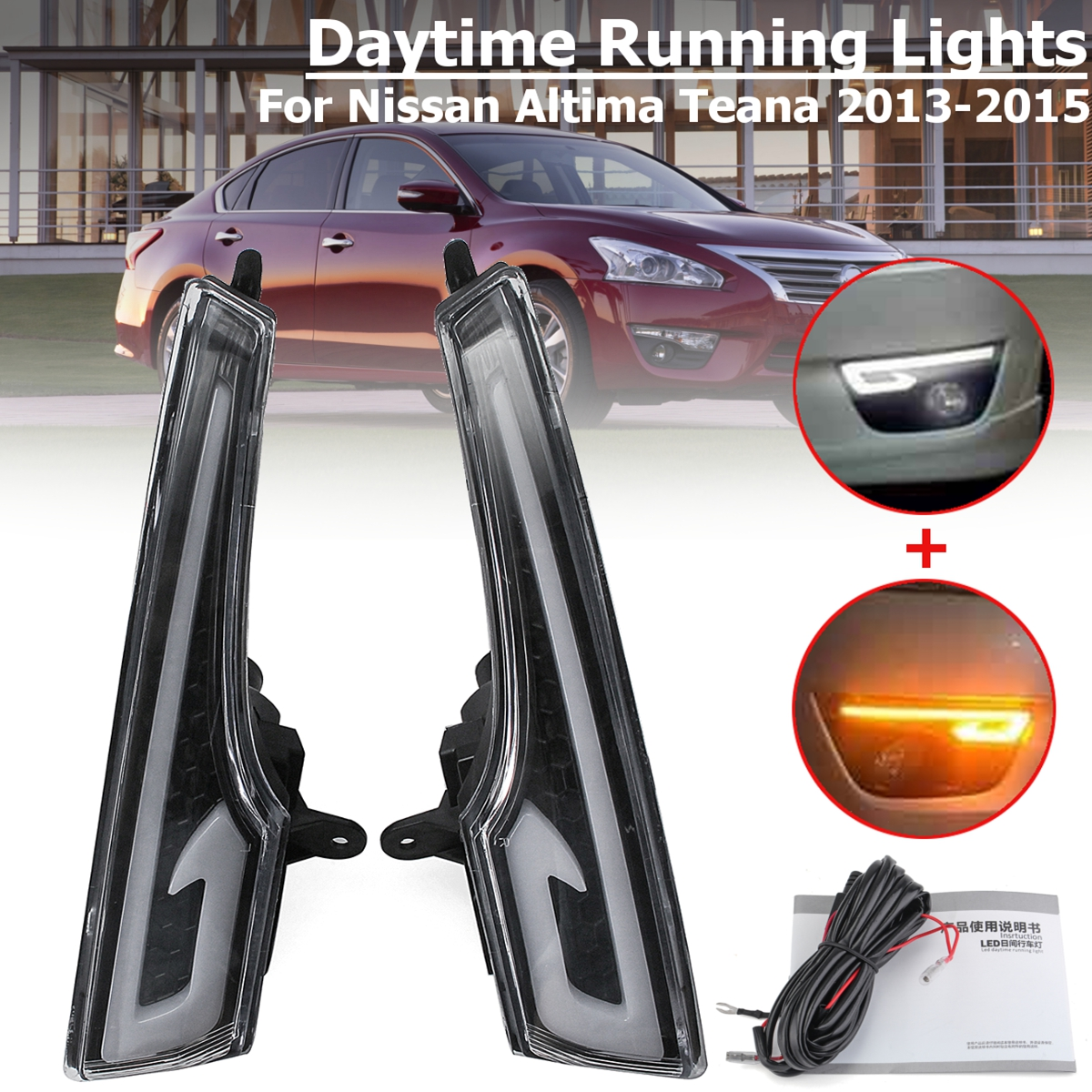 1Pair LED DRL Daytime Running Lights Lamp Fog light cover for Nissan Altima Teana 2013 2014 2015