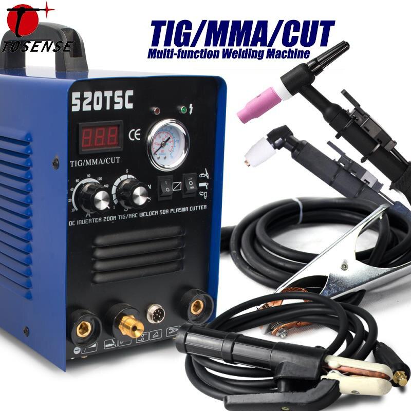 Plasma Cutter 3 dans 1 50A Cutter 200A TIG/MMA Machine De Soudage Multifonctions Avec Consommables (520TSC) TIG CUT MMA 3 DANS 1