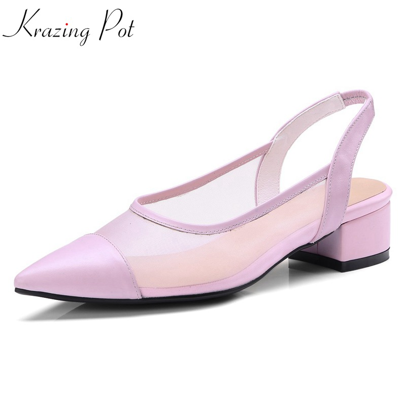 krazing pot new genuine leather air mesh slingback sandals women low heels solid color pointed toe elastic band summer shoes L08 women office shoes solid color fashion pointed toe stiletto high heels elastic band ankle strap slingback sandals pumps leather
