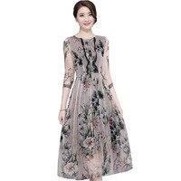 Women Dress Floral Print Midi Silk Dress New Fashion Vintage Half Sleeve Loose Summer Dresses Vestidos Plus Size 4XL