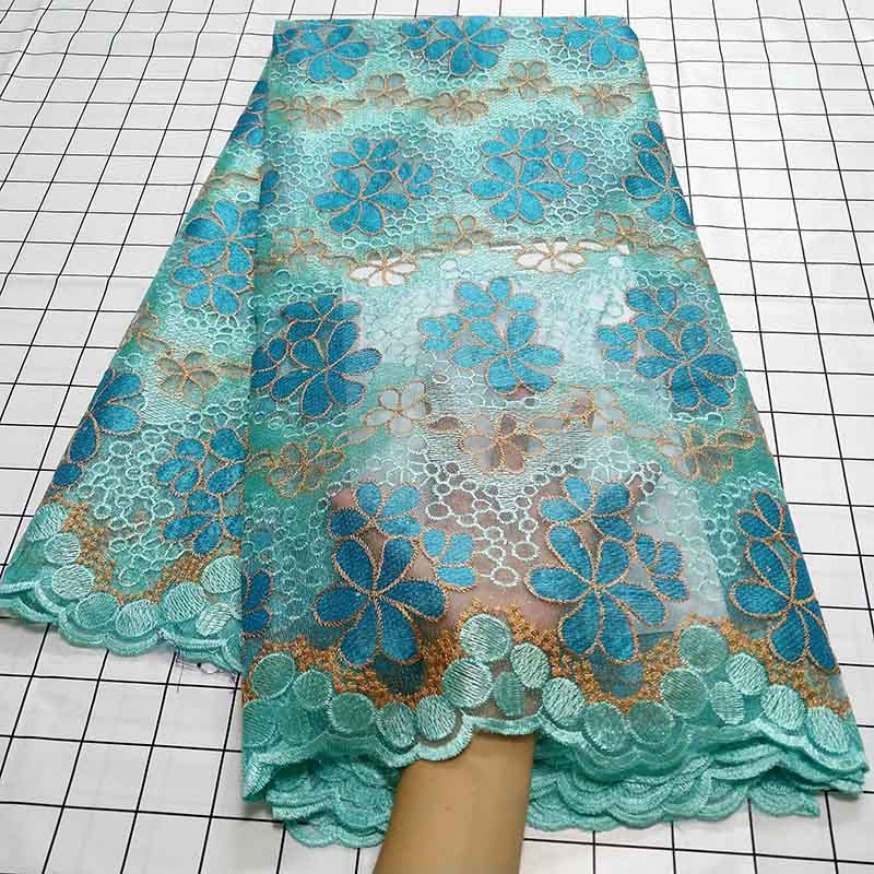 Aqua green African Swiss Voile Lace Fabric High Quality French Tulle Lace Fabric 2019 Nigerian Lace Guipure Embroidery Fabric-in Lace from Home & Garden