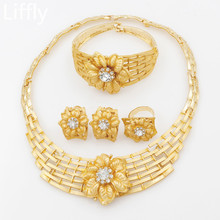 hot deal buy 2018 high quality fashion crystal necklace earrings gold dubai women fine jewelry sets bride italian wedding jewelry accessories