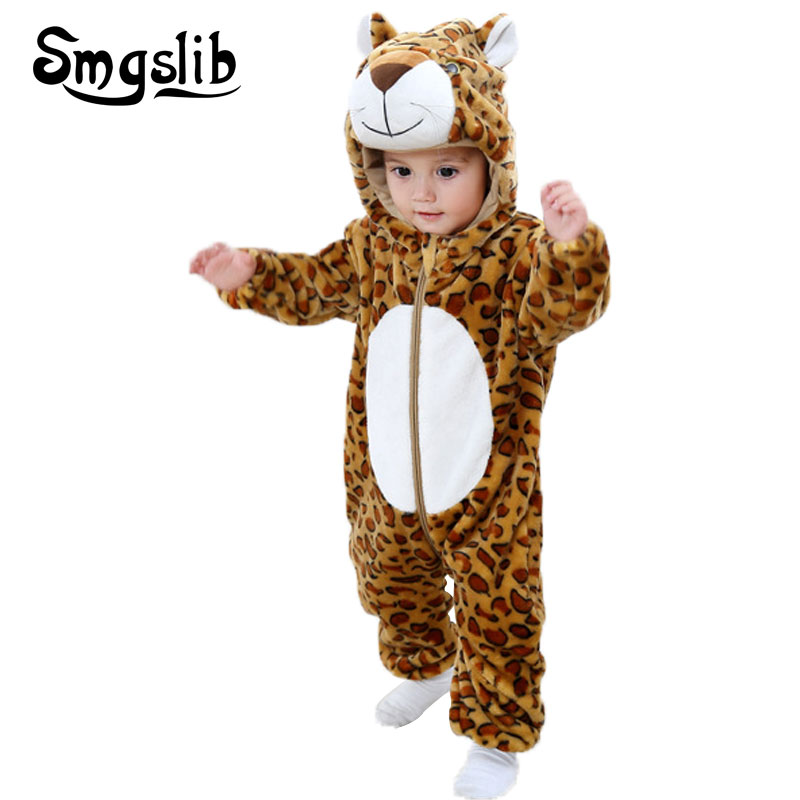 Baby animal costume panda tiger bear jumpsuit baby boys girls clothes Coral  Fleece warm Overall new born rompers jumpsuit 8b28a0b41b02