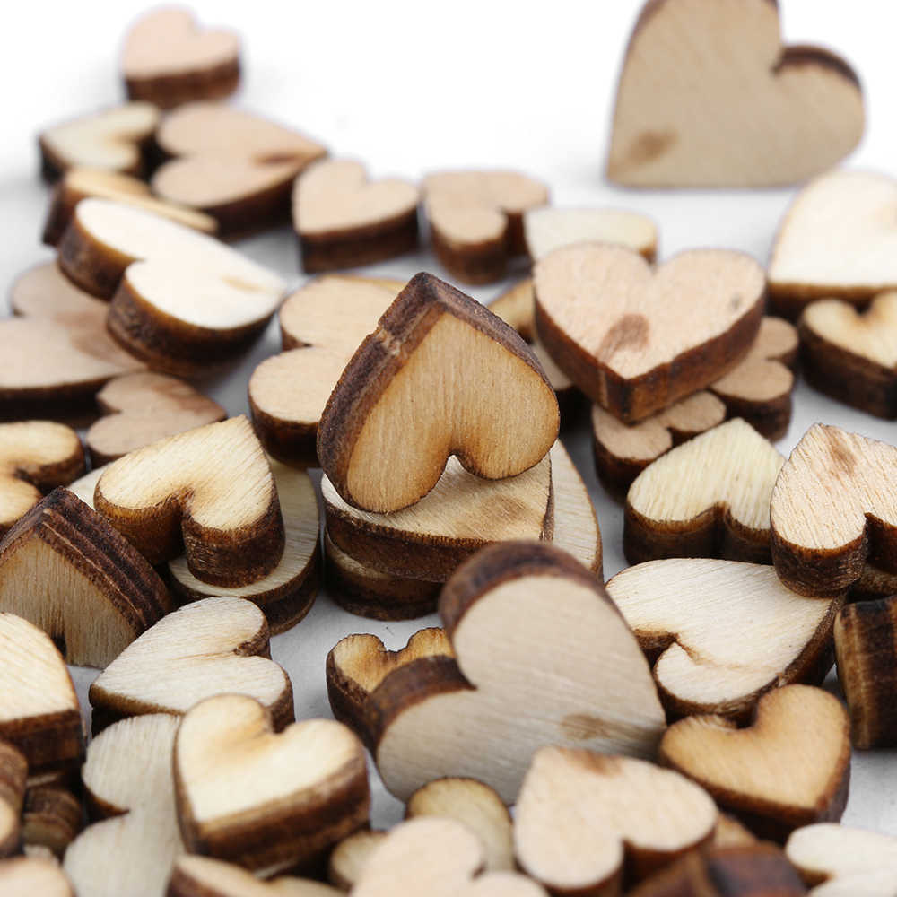 100pcs/pack Cute 4 Sizes 6/8/10/12mm Mixed Love Heart Shape Wedding Table Scatter Decor Rustic Wooden Wedding Decoration Buttons
