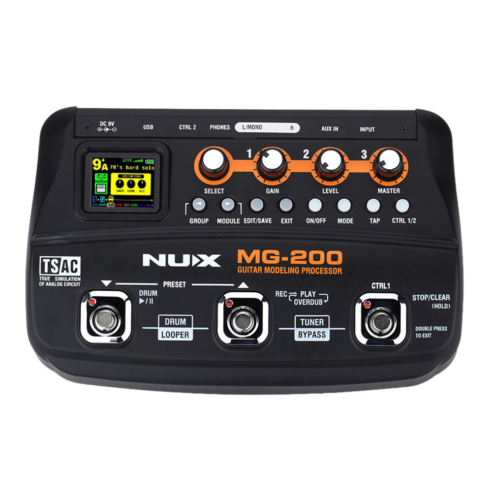 NUX MG-200 Guitar Modeling Processor with 55 Effect Models MG 200 nux mg 20 electric guitar multi effects pedal guitarra modeling processor with drum machine eu plug
