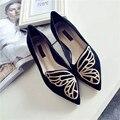 Женщины Новой Корейской Весна Бабочка Вышивка Обувь Указал Женские Туфли женские Плоские Обувь Высокого Качества Удобные Эспадрильи