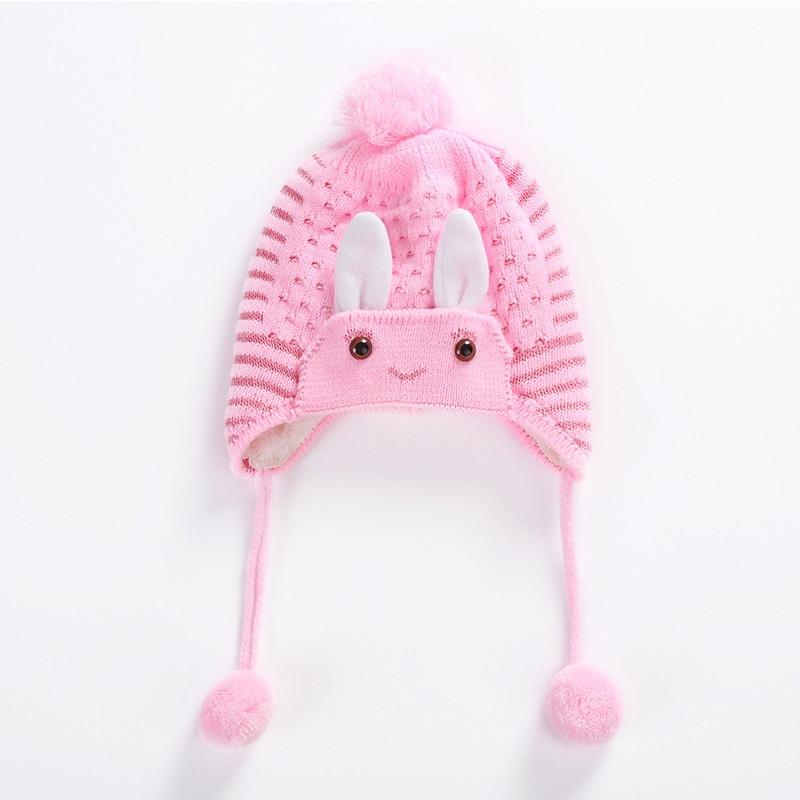 Children Winter Warm Knitted Hat Beanie Cute Rabbit Decor Hair Ball Ear Cap -MX8