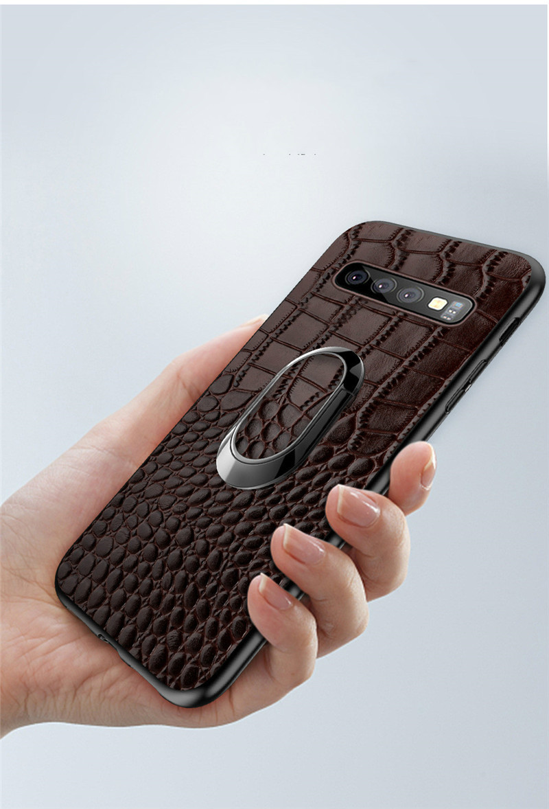 For Samsung Galaxy S10 Case Genuine Leather Armor Car Magnetic Ring Holder Cover For Samsung S10 Lite S10 Plus Case10