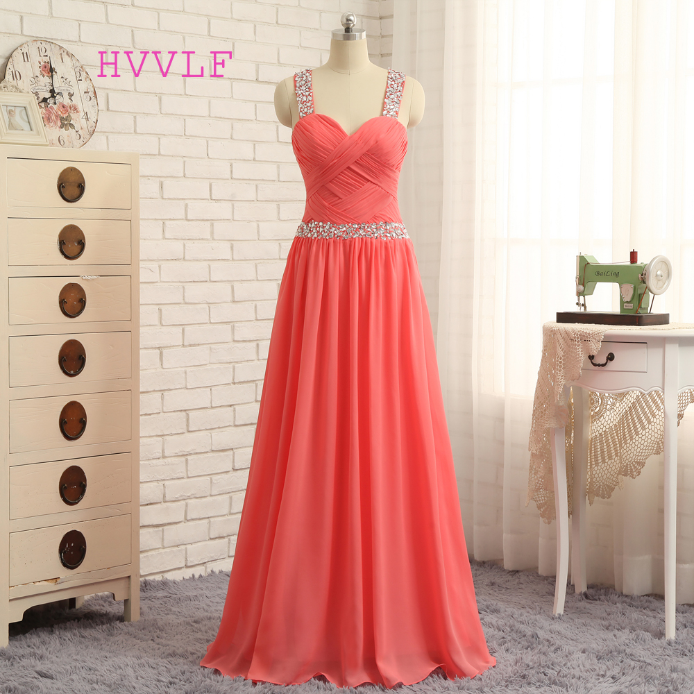 HVVLF Watermelon 2019 Prom Dresses A-line Sweetheart Sexy Chiffon Beaded Long Prom Gown Evening Dresses Evening Gown