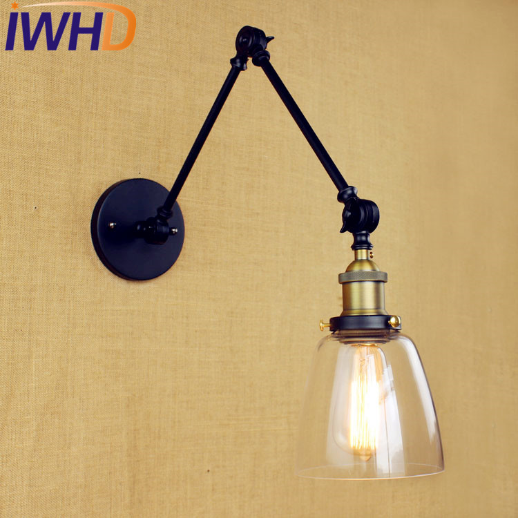 Glass Retro Vintage Wall Lights Fixtures LED Edison Swing Long Arm Light Loft Industrial Wall Sconce Lampara De Pared glass arm long light retro wooden wall lights led edison style loft industrial wall sconce vintage wandlamp appliques pared
