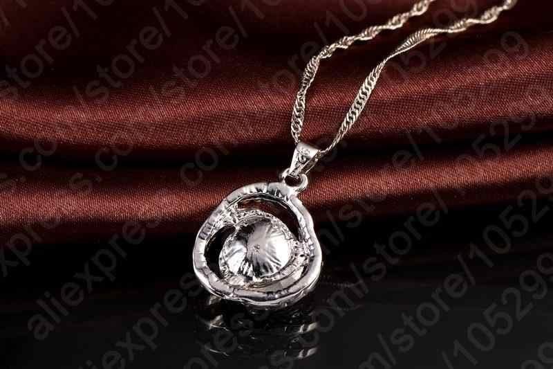 Colore Nero di Lusso da Sposa Zircone Cubico di Cristallo Set di Gioielli 925 Collana in Argento Sterling Orecchini per Le Donne