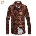 Большой Размер Печати Цветочные Leopard Camisa Masculina 5XL 4XL Slim Fit Мужчины Рубашка 2017 Новый Длинным Рукавом Brand Clothing сорочка Homme
